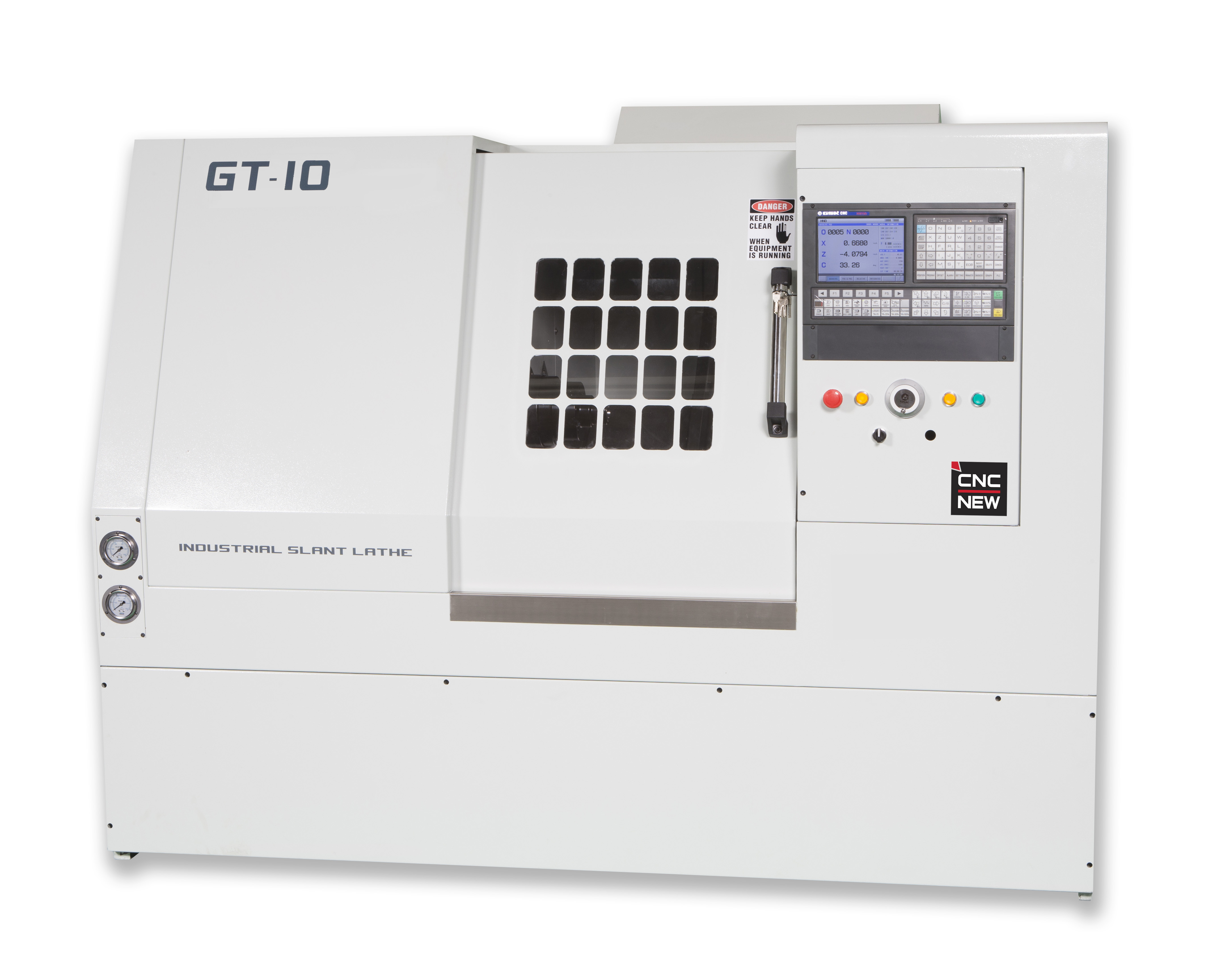 GT-10-RB08 Gang tool lathe with Robotic Arm Loader System. Available with static driven live tool spindles.